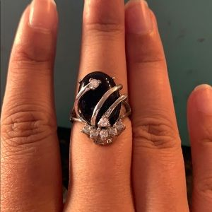Antique black ring with diamond detail